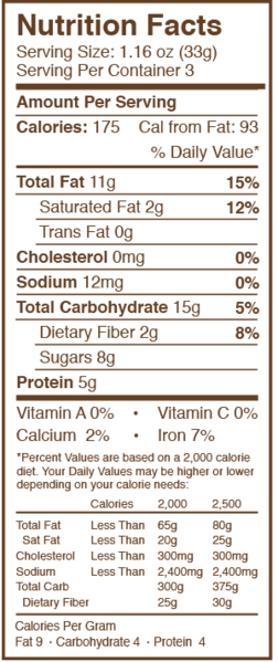 CURT'S CLASSIC NUT CLUSTER NUTRITION FACT